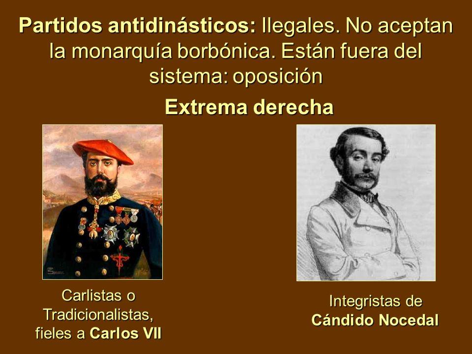Partidos antidinásticos: Ilegales. No aceptan la monarquía borbónica. Están fuera del sistema: oposición Carlistas o Tradicionalistas, fieles a Carlos