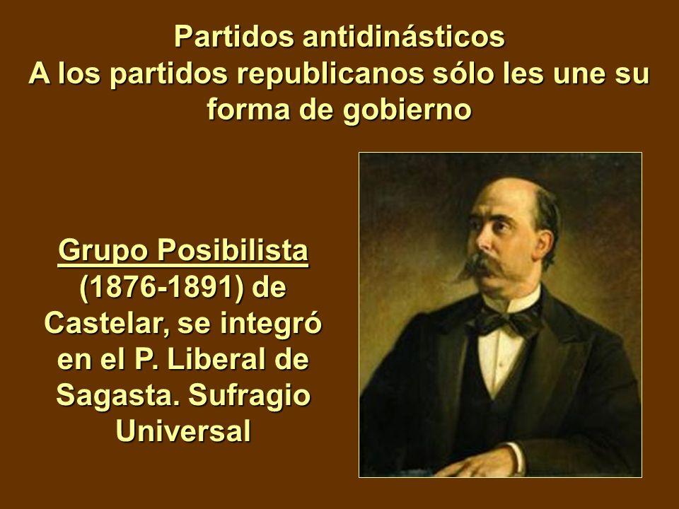 Partidos antidinásticos A los partidos republicanos sólo les une su forma de gobierno Grupo Posibilista (1876-1891) de Castelar, se integró en el P. L