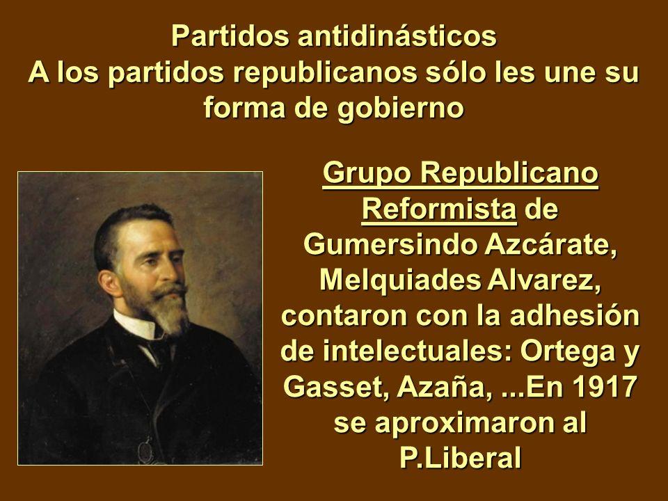 Partidos antidinásticos A los partidos republicanos sólo les une su forma de gobierno Grupo Republicano Reformista de Gumersindo Azcárate, Melquiades