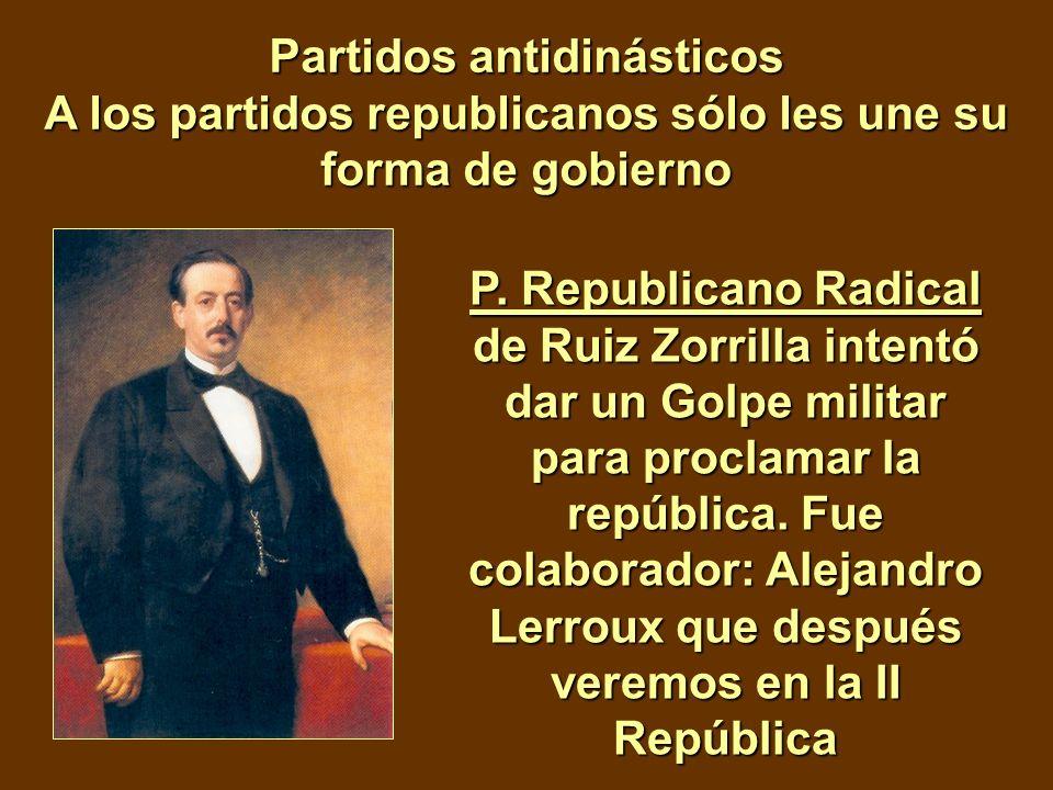 Partidos antidinásticos A los partidos republicanos sólo les une su forma de gobierno P. Republicano Radical de Ruiz Zorrilla intentó dar un Golpe mil