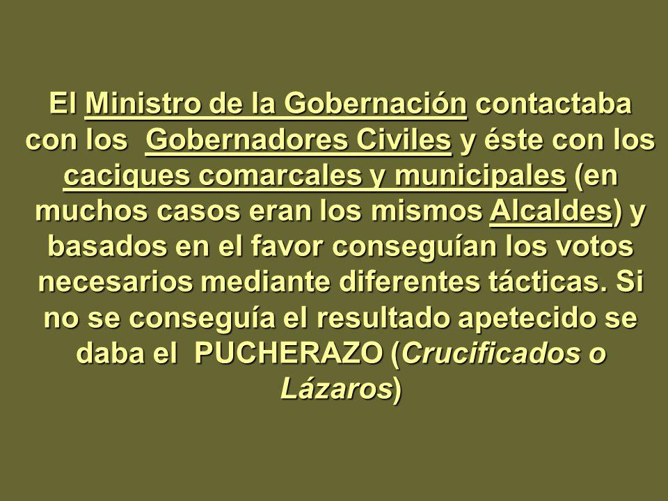 El Ministro de la Gobernación contactaba con los Gobernadores Civiles y éste con los caciques comarcales y municipales (en muchos casos eran los mismo