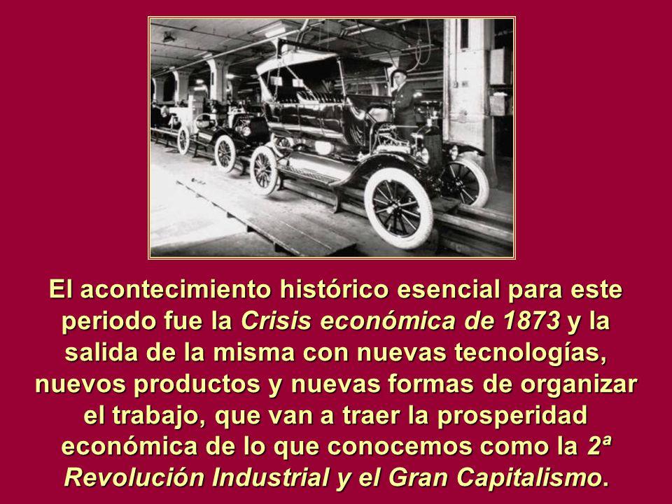 El acontecimiento histórico esencial para este periodo fue la Crisis económica de 1873 y la salida de la misma con nuevas tecnologías, nuevos producto