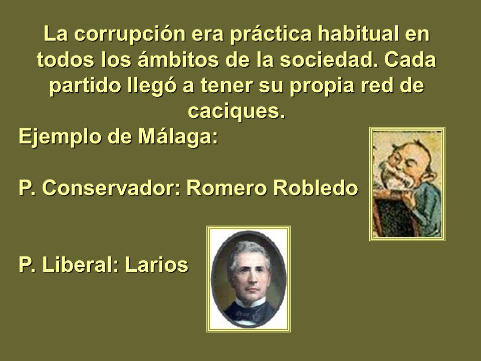 La corrupción era práctica habitual en todos los ámbitos de la sociedad. Cada partido llegó a tener su propia red de caciques. Ejemplo de Málaga: P. C
