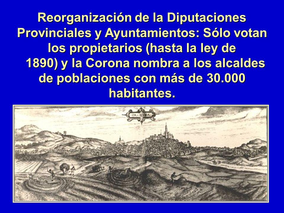 Reorganización de la Diputaciones Provinciales y Ayuntamientos: Sólo votan los propietarios (hasta la ley de 1890) y la Corona nombra a los alcaldes d
