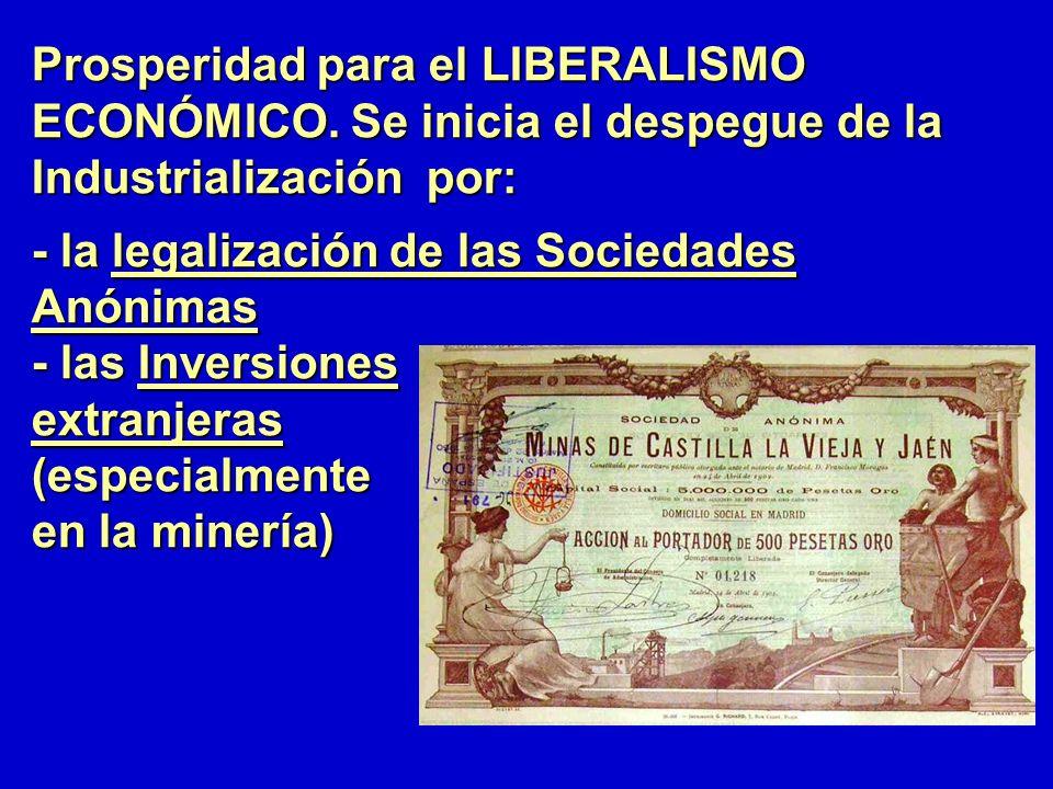 Prosperidad para el LIBERALISMO ECONÓMICO. Se inicia el despegue de la Industrialización por: - la legalización de las Sociedades Anónimas - las Inver