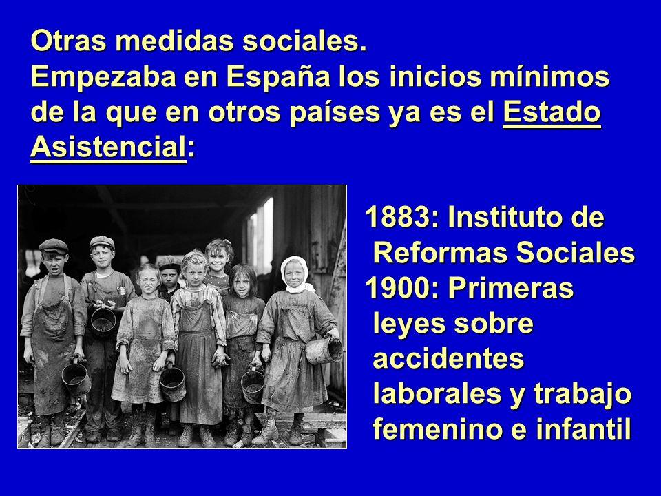 Otras medidas sociales. Empezaba en España los inicios mínimos de la que en otros países ya es el Estado Asistencial: 1883: Instituto de 1883: Institu
