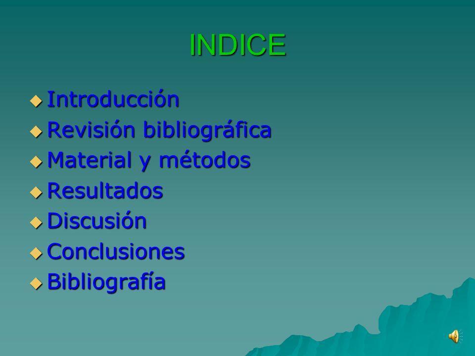 INDICE Introducción Introducción Revisión bibliográfica Revisión bibliográfica Material y métodos Material y métodos Resultados Resultados Discusión Discusión Conclusiones Conclusiones Bibliografía Bibliografía