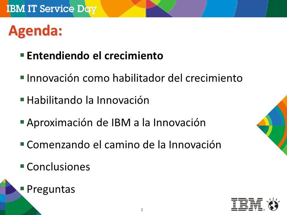 2 Agenda: Entendiendo el crecimiento Innovación como habilitador del crecimiento Habilitando la Innovación Aproximación de IBM a la Innovación Comenza