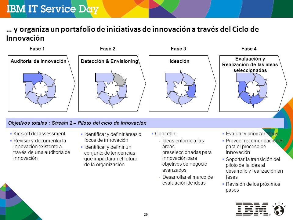 29 Fase 1 Kick-off del assessment Revisar y documentar la innovación existente a través de una auditoría de innovación Fase 2Fase 3Fase 4 Evaluación y