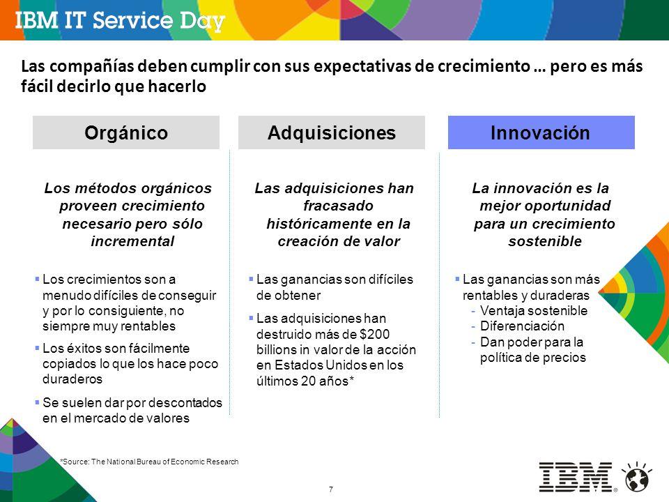 8 nuevas ideas se refiere al problema de ser novedoso u original, o ideas extrapoladas de otras circunstancias, industrias o contextos añadir valor se refiere a la necesidad de innovar para beneficiar a la gente, bien sean clientes, accionistas, empleados o a la sociedad como un todo: la innovación que no añade valor generalmente es inútil El cambio que no genera valor añadido no se considera innovación en IBM Para IBM innovación no es:  Cambios que no benefician a nadie: esto a menudo constituye cambio por el cambio, que además puede resultar costoso y diluir valor  Copiar al líder: aunque suele ser a menudo bueno para el negocio, generalmente está dirigido a evitar perder valor más que capturar nuevo  La creación de valor no comprende la aplicación de nuevas ideas: esto que puede ser bueno para el negocio, cae dentro del ámbito de lo incremental, business as usual Innovación son nuevas ideas que añaden valor Incrementalidad es el peor enemigo de la innovación - Nicholas Negroponte, MIT Media Lab Innovación no significa incrementalidad y debe crear valor Source: IBM Research