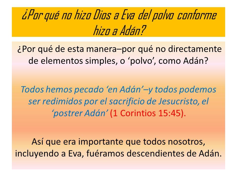 ¿Por qué no hizo Dios a Eva del polvo conforme hizo a Adán? ¿Por qué de esta manera–por qué no directamente de elementos simples, o polvo, como Adán?