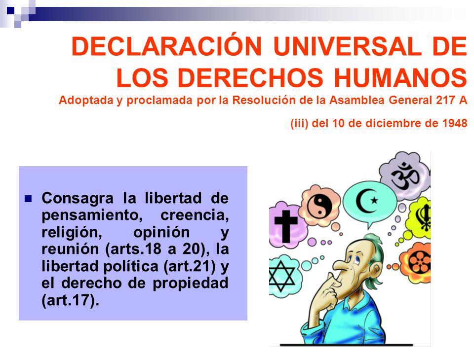 Consagra la libertad de pensamiento, creencia, religión, opinión y reunión (arts.18 a 20), la libertad política (art.21) y el derecho de propiedad (ar