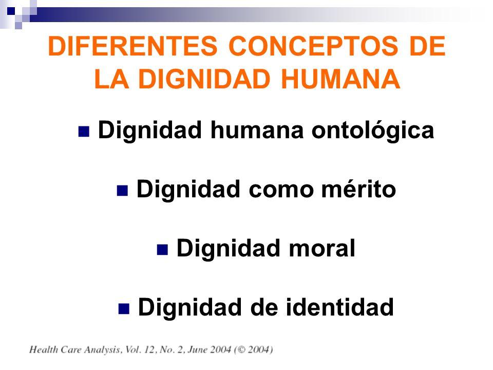 DIFERENTES CONCEPTOS DE LA DIGNIDAD HUMANA Dignidad humana ontológica Dignidad como mérito Dignidad moral Dignidad de identidad