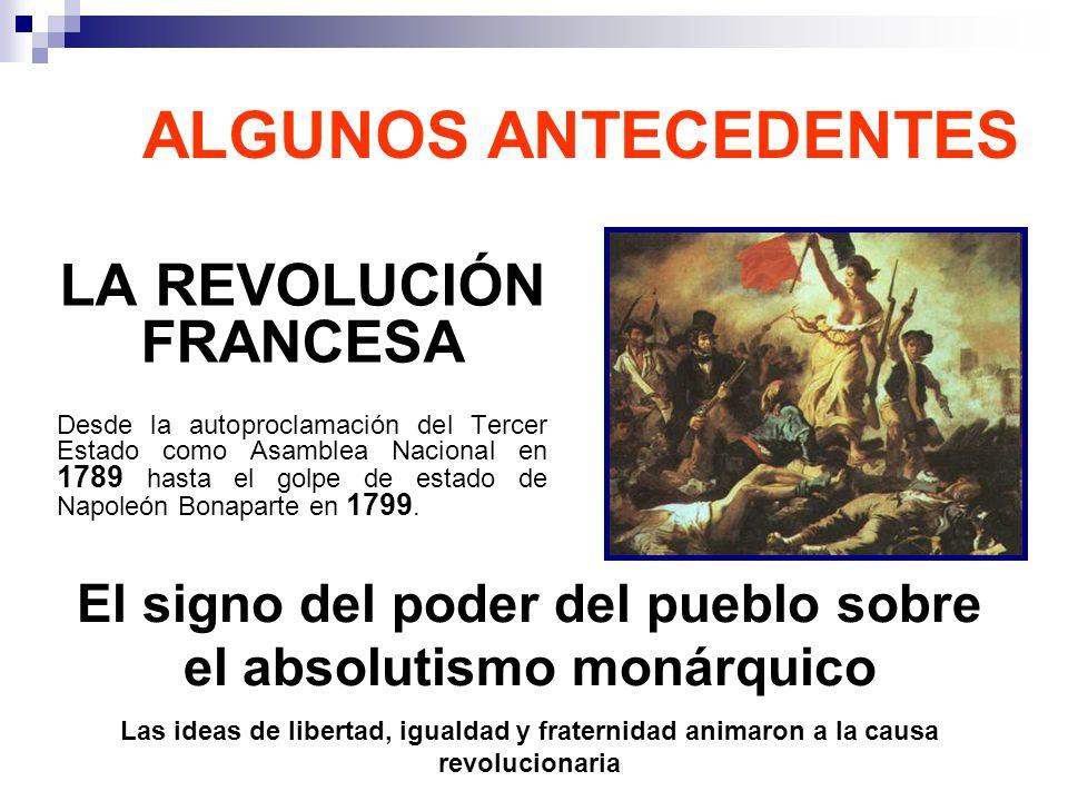 ALGUNOS ANTECEDENTES LA REVOLUCIÓN FRANCESA Desde la autoproclamación del Tercer Estado como Asamblea Nacional en 1789 hasta el golpe de estado de Nap