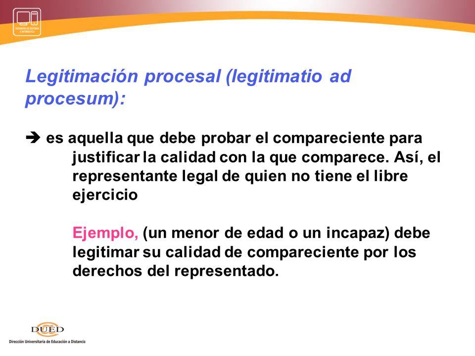 Sustitución procesal. * Ejemplo: es el supuesto de la acción subrogatoria recogida en el artículo 1219º del Código civil, la cual supone que un acreed
