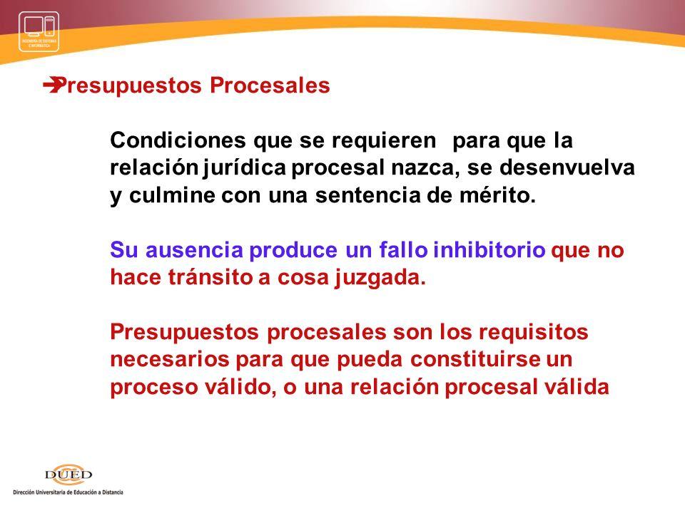 Presupuestos procesales: a) Competencia, b) Capacidad procesal, actitud para comparecer en el proceso (legitimatio ad procesum). c) Requisitos de la d
