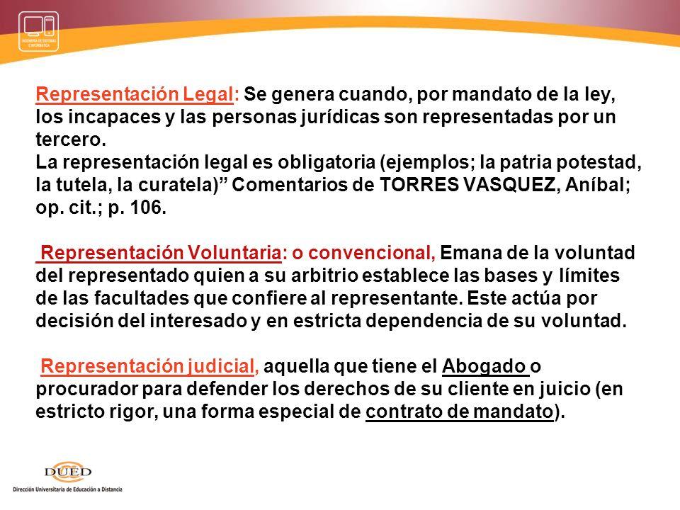 Representación procesal: Institución jurídica por la cual una persona distinta de las partes, participa en el proceso realizando actos procesales váli