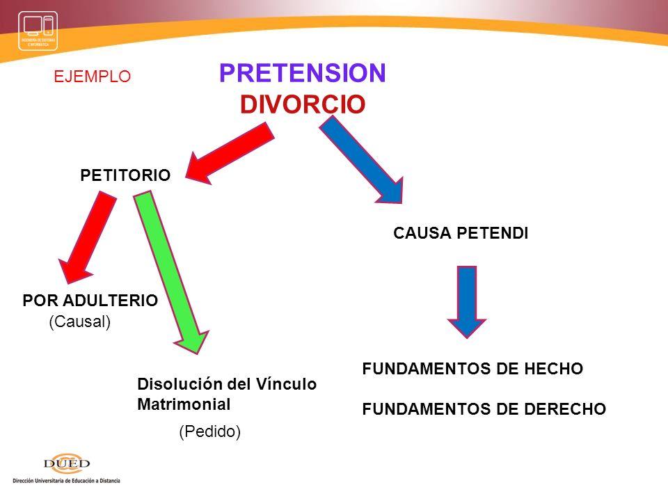PRETENSION DESALOJO PETITORIO POR PRECARIO CAUSA PETENDI FUNDAMENTOS DE HECHO FUNDAMENTOS DE DERECHO Restitución de la posesión (Causal) (Pedido) EJEM