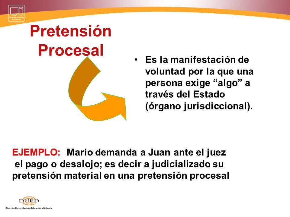 Un conflicto de intereses produce una Relación Jurídica sustantiva entre Relación Jurídica procesal Válida Presupuestos Procesales pretendiente Pretendido + Condiciones de la Acción Pero, para efectos procesales deberá establecerse