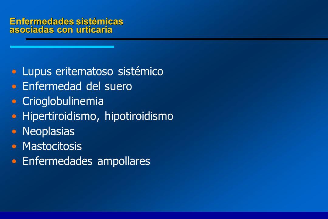 Lupus eritematoso sistémico Enfermedad del suero Crioglobulinemia Hipertiroidismo, hipotiroidismo Neoplasias Mastocitosis Enfermedades ampollares Enfe