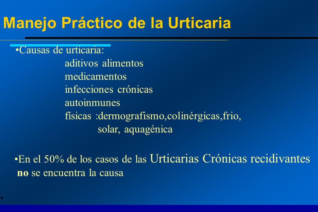 Causas de urticaria: aditivos alimentos medicamentos infecciones crónicas autoinmunes físicas :dermografismo,colinérgicas,frio, solar, aquagénica En e