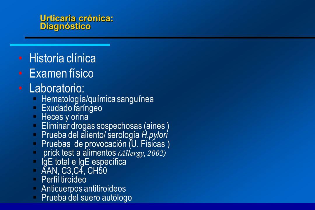 Urticaria crónica: Diagnóstico Historia clínica Examen físico Laboratorio: Hematolog í a/qu í mica sangu í nea Exudado faríngeo Heces y orina Eliminar