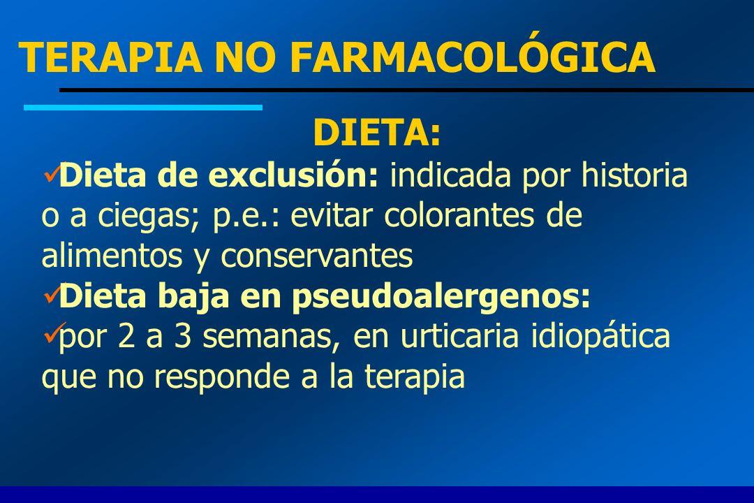 TERAPIA NO FARMACOLÓGICA DIETA: Dieta de exclusión: indicada por historia o a ciegas; p.e.: evitar colorantes de alimentos y conservantes Dieta baja e