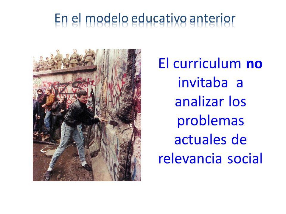 El curriculum no invitaba a analizar los problemas actuales de relevancia social