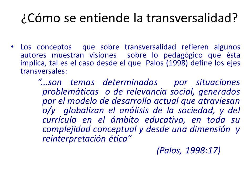 Los conceptos que sobre transversalidad refieren algunos autores muestran visiones sobre lo pedagógico que ésta implica, tal es el caso desde el que P