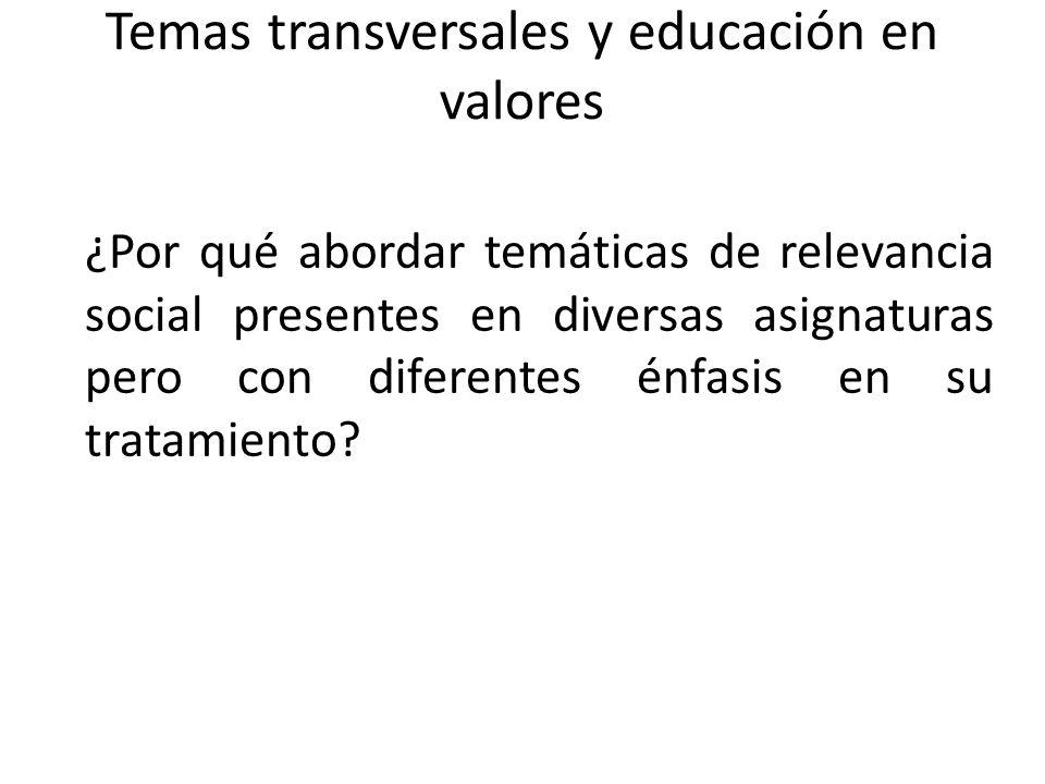 Temas transversales y educación en valores ¿Por qué abordar temáticas de relevancia social presentes en diversas asignaturas pero con diferentes énfas