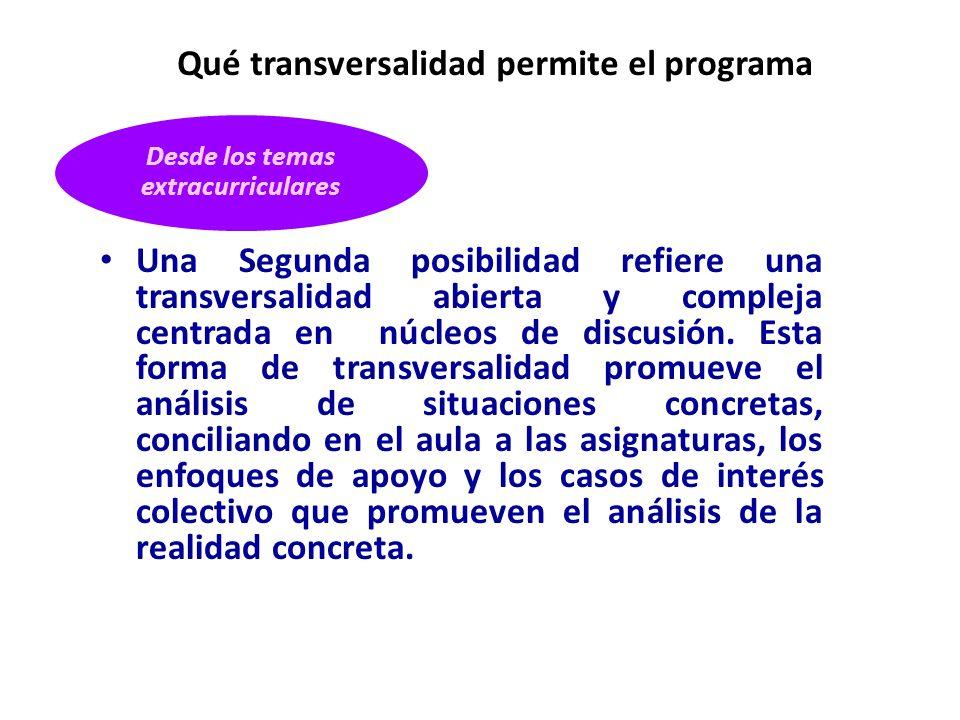 Una Segunda posibilidad refiere una transversalidad abierta y compleja centrada en núcleos de discusión. Esta forma de transversalidad promueve el aná
