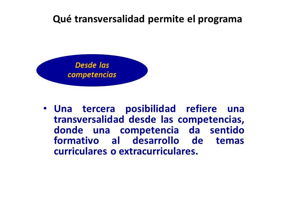 Una tercera posibilidad refiere una transversalidad desde las competencias, donde una competencia da sentido formativo al desarrollo de temas curricul
