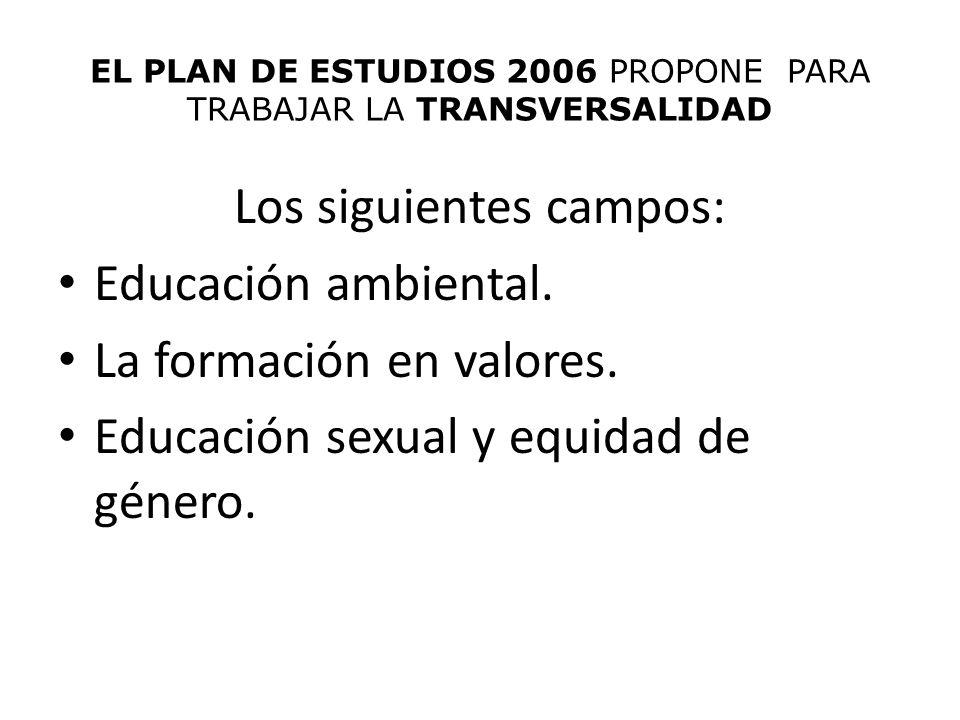 EL PLAN DE ESTUDIOS 2006 PROPONE PARA TRABAJAR LA TRANSVERSALIDAD Los siguientes campos: Educación ambiental. La formación en valores. Educación sexua