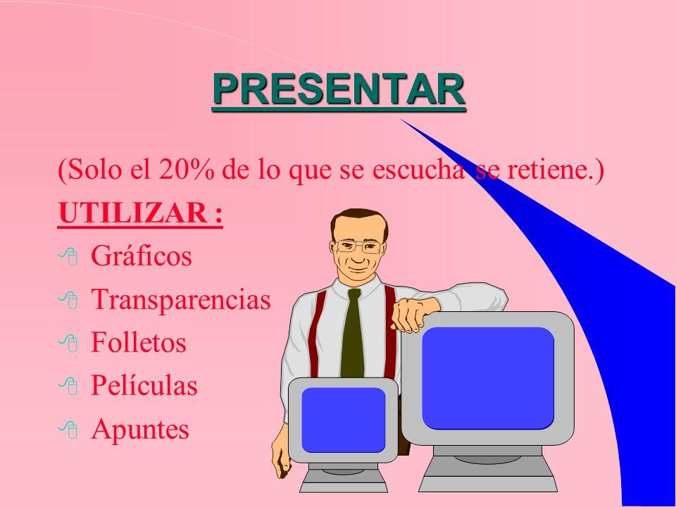 PRESENTAR (Solo el 20% de lo que se escucha se retiene.) UTILIZAR : Gráficos Transparencias Folletos Películas Apuntes