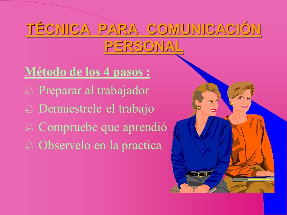 TÉCNICA PARA COMUNICACIÓN PERSONAL Método de los 4 pasos : Preparar al trabajador Demuestrele el trabajo Compruebe que aprendió Observelo en la practi