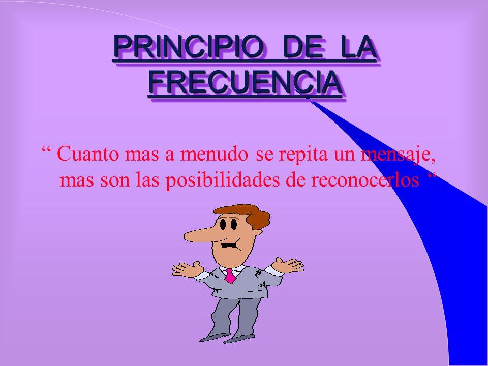 PRINCIPIO DE LA INTENSIDAD CUANTO MAS VIVIDA, ENTUSIASTA, PERSONAL Y POSITIVA SEA LA COMUNICACIÓN, MEJOR SE LE RECORDARA