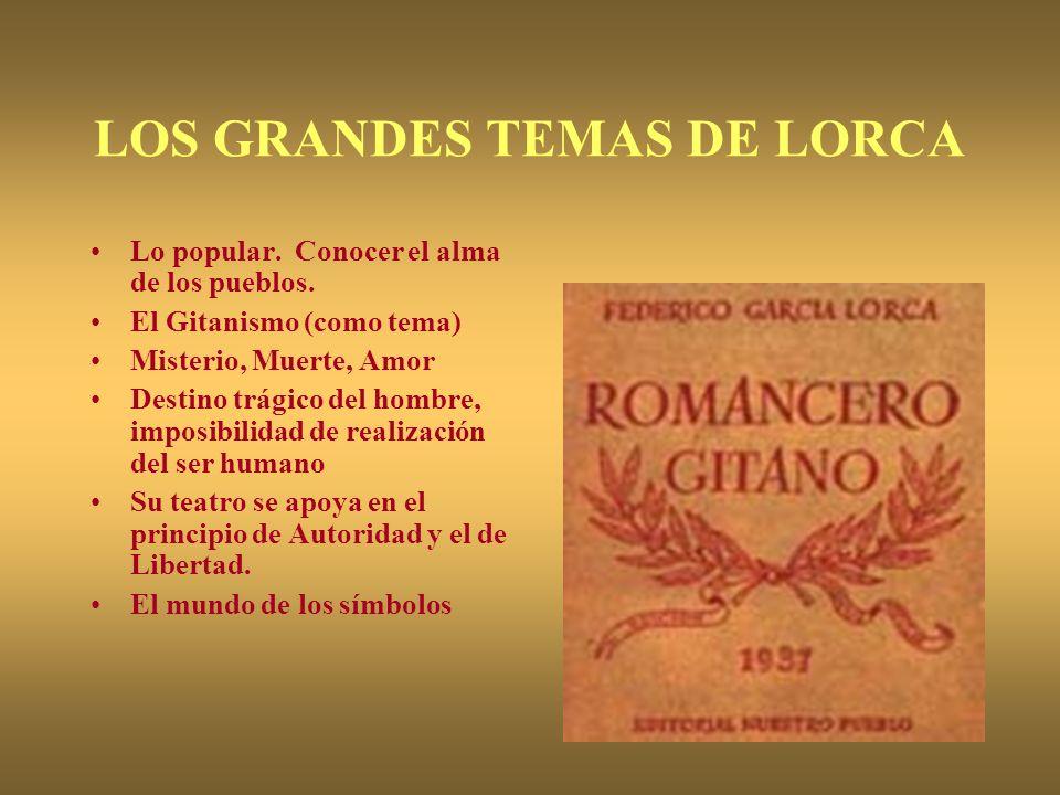 LOS GRANDES TEMAS DE LORCA Lo popular. Conocer el alma de los pueblos. El Gitanismo (como tema) Misterio, Muerte, Amor Destino trágico del hombre, imp