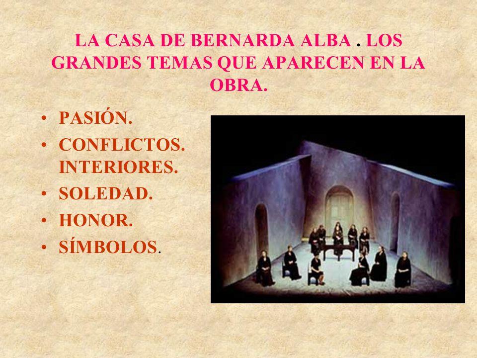 LA CASA DE BERNARDA ALBA. LOS GRANDES TEMAS QUE APARECEN EN LA OBRA. PASIÓN. CONFLICTOS. INTERIORES. SOLEDAD. HONOR. SÍMBOLOS.