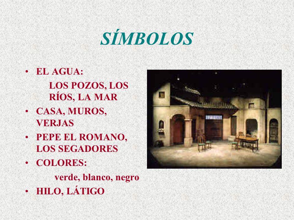 SÍMBOLOS EL AGUA: LOS POZOS, LOS RÍOS, LA MAR CASA, MUROS, VERJAS PEPE EL ROMANO, LOS SEGADORES COLORES: verde, blanco, negro HILO, LÁTIGO