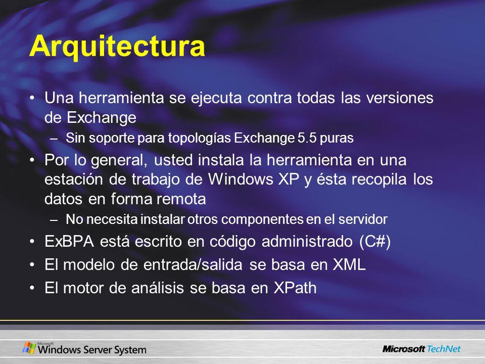 Arquitectura Una herramienta se ejecuta contra todas las versiones de Exchange –Sin soporte para topologías Exchange 5.5 puras Por lo general, usted i