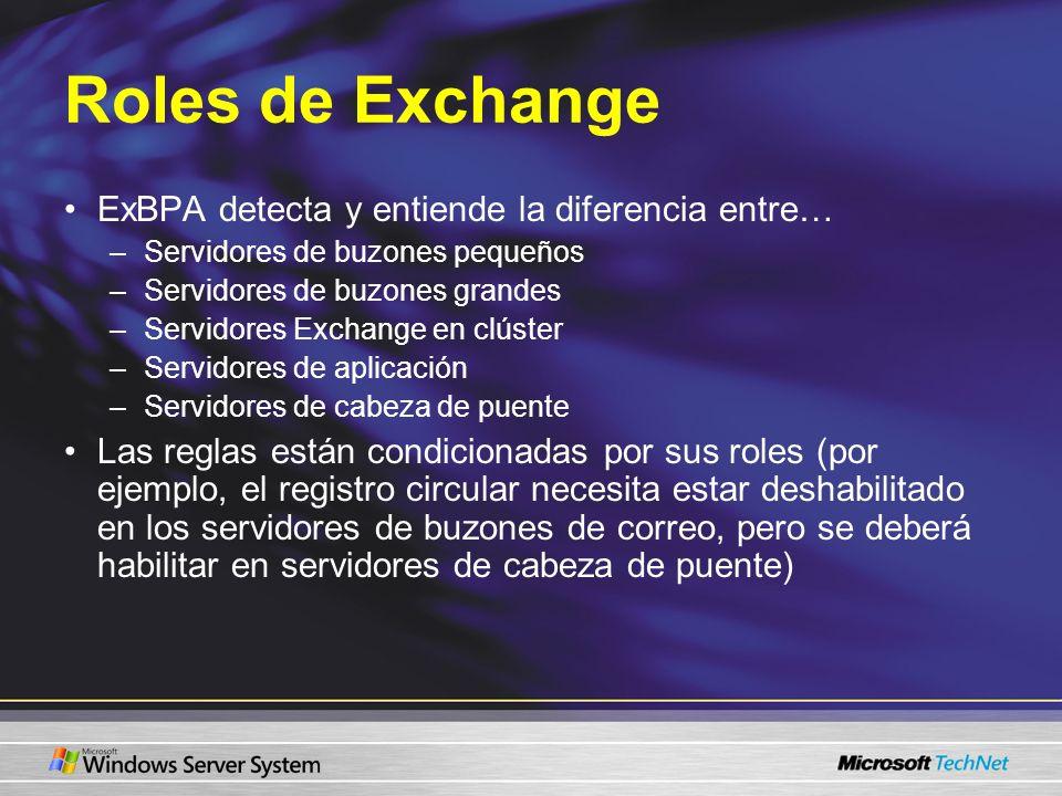 Roles de Exchange ExBPA detecta y entiende la diferencia entre… –Servidores de buzones pequeños –Servidores de buzones grandes –Servidores Exchange en
