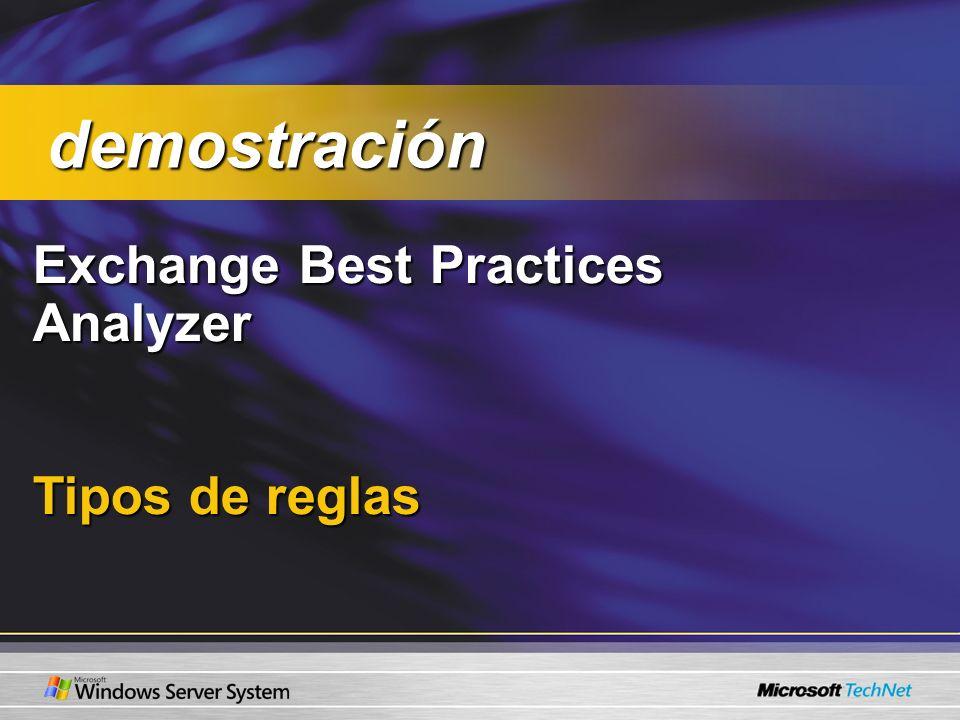 Exchange Best Practices Analyzer Tipos de reglas demostración demostración