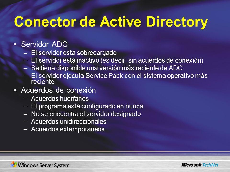 Conector de Active Directory Servidor ADC –El servidor está sobrecargado –El servidor está inactivo (es decir, sin acuerdos de conexión) –Se tiene dis