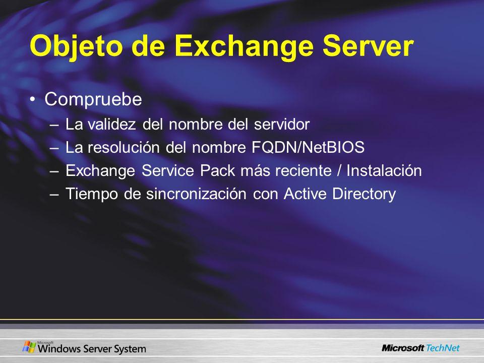 Objeto de Exchange Server Compruebe –La validez del nombre del servidor –La resolución del nombre FQDN/NetBIOS –Exchange Service Pack más reciente / I