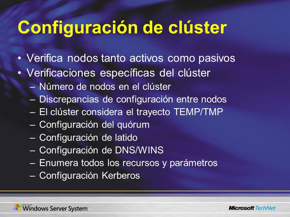 Configuración de clúster Verifica nodos tanto activos como pasivos Verificaciones específicas del clúster –Número de nodos en el clúster –Discrepancia