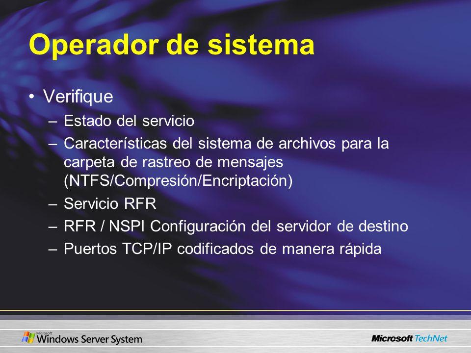 Operador de sistema Verifique –Estado del servicio –Características del sistema de archivos para la carpeta de rastreo de mensajes (NTFS/Compresión/En