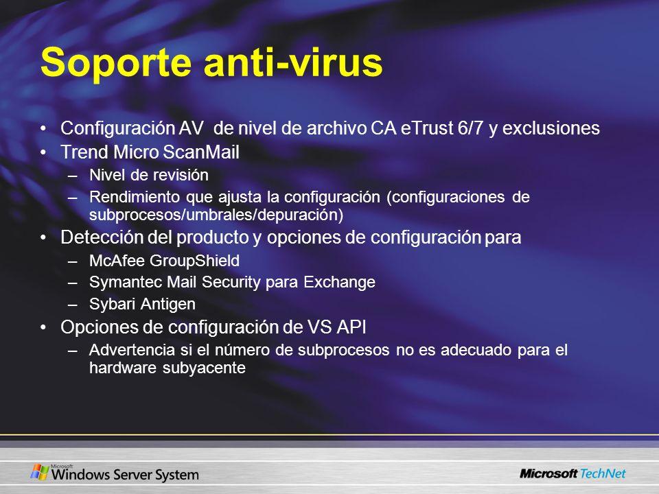 Soporte anti-virus Configuración AV de nivel de archivo CA eTrust 6/7 y exclusiones Trend Micro ScanMail –Nivel de revisión –Rendimiento que ajusta la