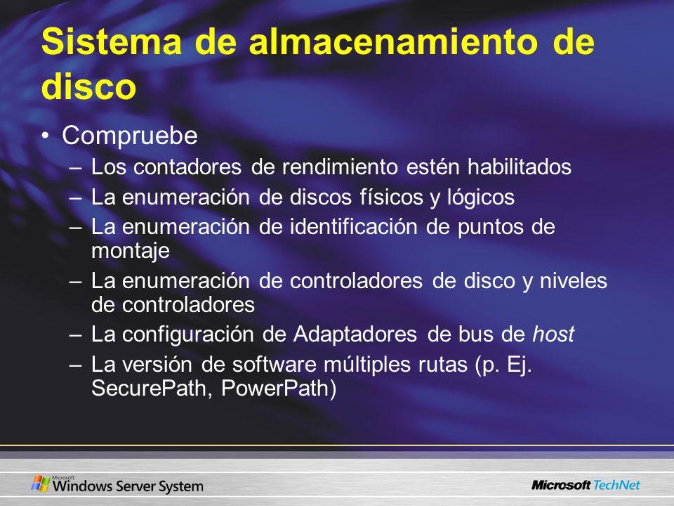 Sistema de almacenamiento de disco Compruebe –Los contadores de rendimiento estén habilitados –La enumeración de discos físicos y lógicos –La enumerac