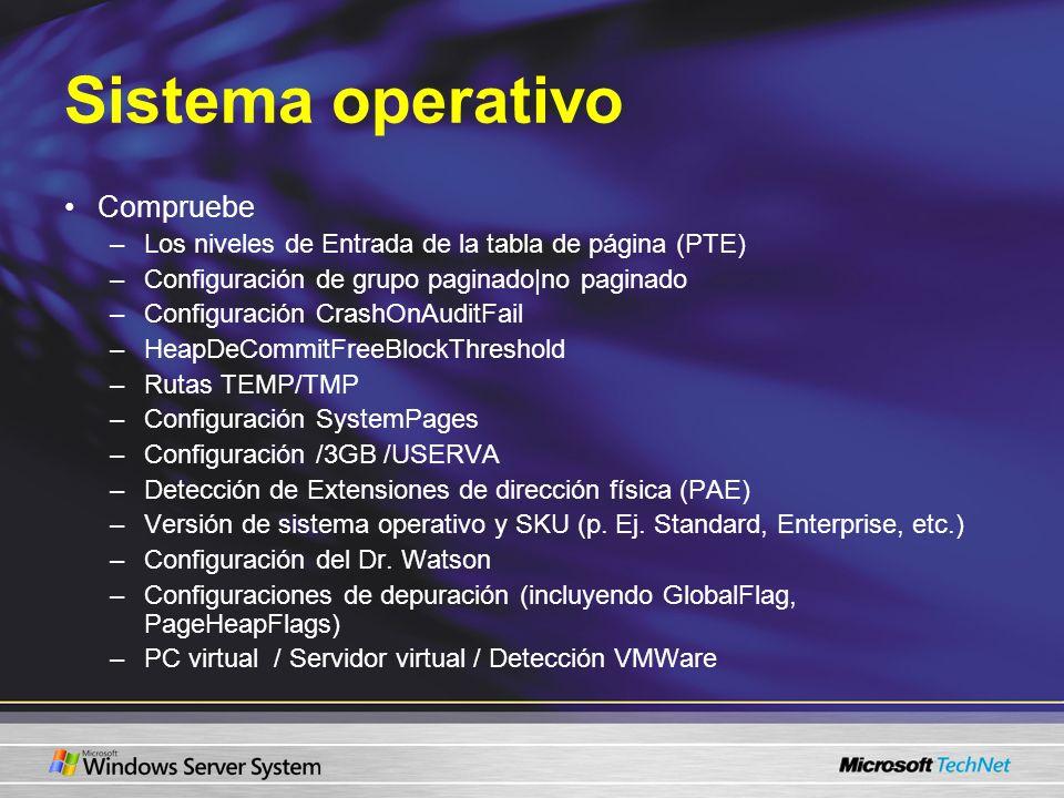 Sistema operativo Compruebe –Los niveles de Entrada de la tabla de página (PTE) –Configuración de grupo paginado|no paginado –Configuración CrashOnAud