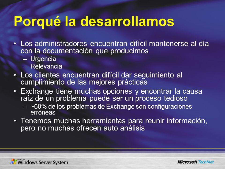Porqué la desarrollamos Los administradores encuentran difícil mantenerse al día con la documentación que producimos –Urgencia –Relevancia Los cliente